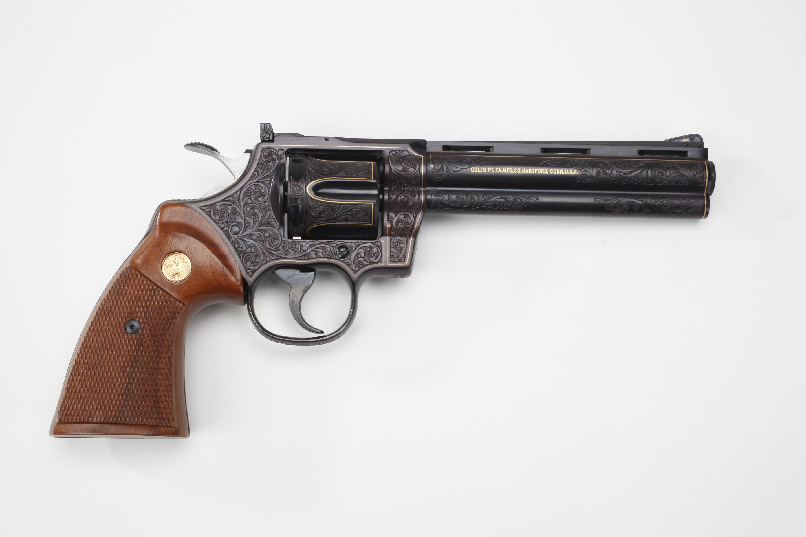 Colt Python Double-Action Revolver w/ checkered wood grip panels