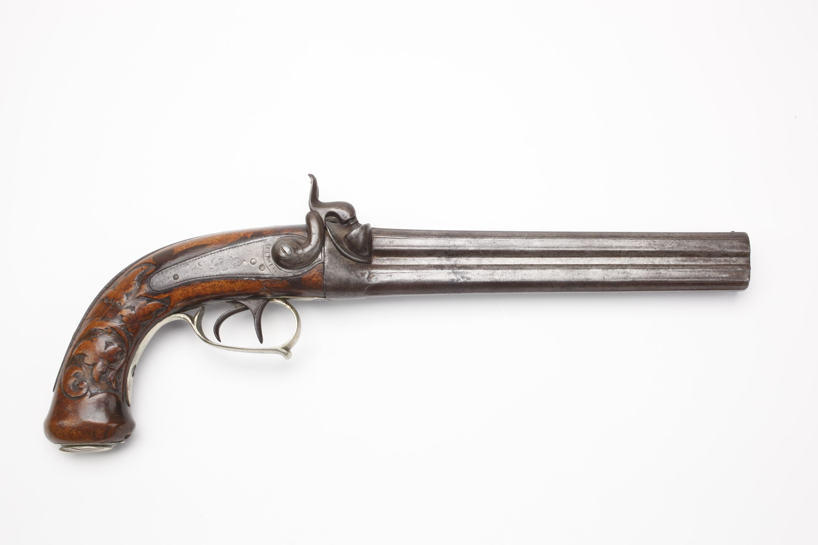 Belgian Double Barrel Percussion Pistol